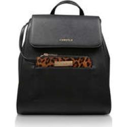 Carvela Slinky Purse Backpack - Black Backpack with Leopard Print Purse found on Bargain Bro UK from Kurt Geiger UK
