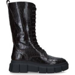 KG Kurt Geiger Titan - Brown Croc Lace Up Leather Knee Boots found on Bargain Bro UK from Kurt Geiger UK