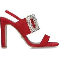 Womens Kurt Geiger London Pascalred Square Toe Embellished Heeled Sandals, 2 UK found on MODAPINS from Shoeaholics for USD $82.16
