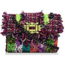 Kurt Geiger London Mini Tweed Mayfair Bag - Purple Embellished Tweed Mini Shoulder Bag found on Bargain Bro UK from Kurt Geiger UK