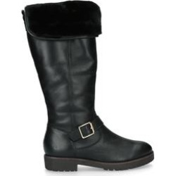 Carvela Samba - Black Leather Faux Fur Lined Knee Boots found on MODAPINS from Kurt Geiger UK for USD $205.63