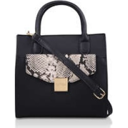 Carvela Fame Pocket Tote - Black And Snake Print Tote Bag found on Bargain Bro UK from Kurt Geiger UK