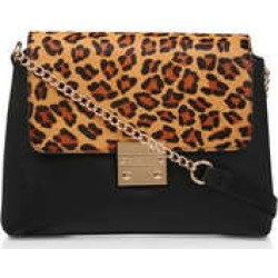 Carvela Blink Chain Handle Bag - Black And Leopard Print Cross Body Bag With Chain Strap found on Bargain Bro UK from Kurt Geiger UK