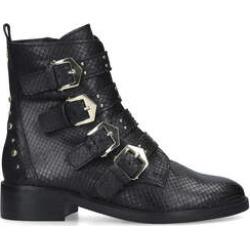 Carvela Scant - Black Snake Print Biker Boots found on Bargain Bro UK from Kurt Geiger UK