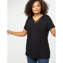 Lane Bryant Women's Lace Trim Perfect Sleeve Tee 14/16 Black