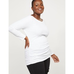 Lane Bryant Women's Ribbed Boatneck Ruched Side Tee 14/16 White