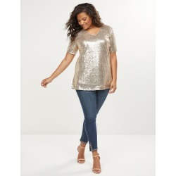 Lane Bryant Women's Gold Sequin V-Neck Top 22 Champagne