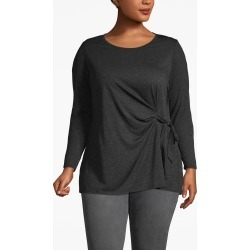 Lane Bryant Women's Heathered Tie-Front Tunic Top 22/24 Charcoal With Silver