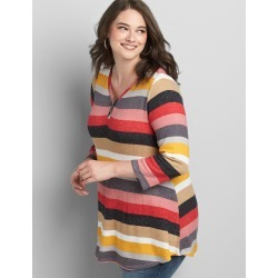 Lane Bryant Women's 3/4 Sleeve Henley Waffle Mix Tunic Tee 10/12 Multi Stripe found on Bargain Bro from Lane Bryant for USD $37.96