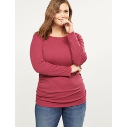 Lane Bryant Women's Ribbed Boatneck Ruched Side Tee 14/16 Wine