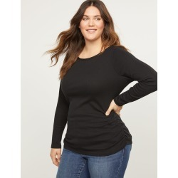 Lane Bryant Women's Ribbed Boatneck Ruched Side Tee 14/16 Black