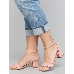 d492e51429f Lane Bryant Women s Scalloped Short Block Heel Sandal 12W Pantone Dusty  Pink found on MODAPINS from