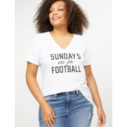 Lane Bryant Women's Sundays Are For Football Graphic Tee 26/28 White