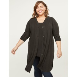 Lane Bryant Women's Ribbed Duster Overpiece 26/28 Black