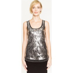 Le Chateau Womens - Sequin Scoop Neck Top in Black/Silver Size XS Polyester/Viscose