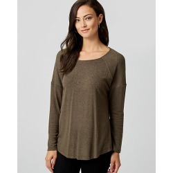 Le Chateau Womens - Cut & Sew Knit Crew Neck Top in Khaki Size XS Polyester/Viscose