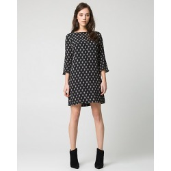 Le Chateau Womens - Diamond Print Crepe de Chine Tunic Dress in Black/Off White Size 2XS Polyester found on Bargain Bro India from Le Chateau Stores for $49.97