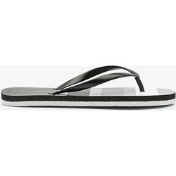 Le Chateau Womens - Stripe Jelly Flip Flop Sandal in Black Size 39 Plastic found on Bargain Bro Philippines from Le Chateau Stores for $9.99