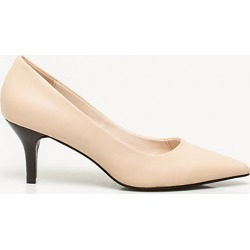 Le Chateau Womens - Leather Pointy Toe Pump Shoes in Nude Size 11