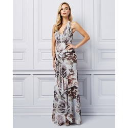 Le Chateau Womens - Floral Print Chiffon Ruffle Gown in Grey/Pink Size 8 Polyester found on Bargain Bro Philippines from Le Chateau Stores for $275.00