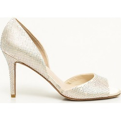 Le Chateau Womens - Jewel Embellished Satin d'Orsay Pump Shoes in Ivory Size 6