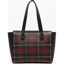 Le Chateau Womens - Check Print Faux Leather Tote Bag in Red/Black Synthetic/Leather found on Bargain Bro India from Le Chateau Stores for $39.99