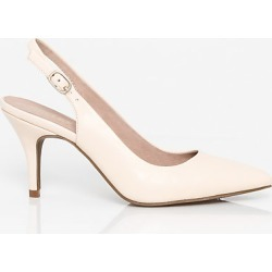 Le Chateau Womens - Leather Pointy Toe Slingback Shoes in Cream Size 9
