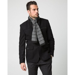 Le Chateau Mens - Stripe Woven Scarf in Grey/Black Polyester/Viscose found on Bargain Bro India from Le Chateau Stores for $19.99