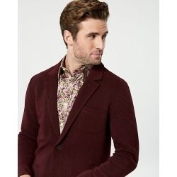 Le Chateau Mens - Knit Notch Collar Blazer Jacket in Burgundy Size 2XL Cotton/Polyester/Nylon