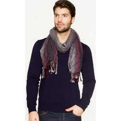Le Chateau Mens - Stripe Fringe Scarf in Grey/Red Viscose found on Bargain Bro India from Le Chateau Stores for $19.99