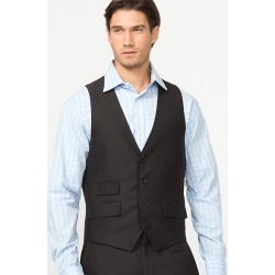 Le Chateau Mens - Tonal Herringbone Contemporary Fit Vest in Black Size XS Polyester found on Bargain Bro India from Le Chateau Stores for $29.99