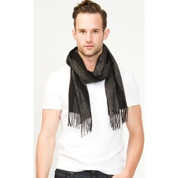 Le Chateau Mens - Stripe Woold Scarf in Black/Charcoal found on Bargain Bro India from Le Chateau Stores for $19.99