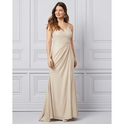 Le Chateau Womens - Embroidered Foil Chiffon Wrap-Like Gown in Champagne Size 4 Polyester