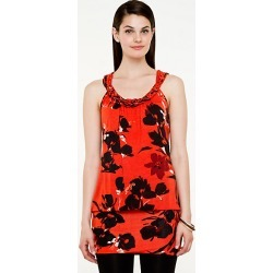 Le Chateau Womens - Floral Knit Halter Tunic Top in Orange/Black Size 2XS Viscose found on Bargain Bro India from Le Chateau Stores for $19.99