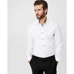 Le Chateau Mens - Stretch Cotton Poplin Tailored Fit Shirt in White Size XL found on Bargain Bro Philippines from Le Chateau Stores for $69.95