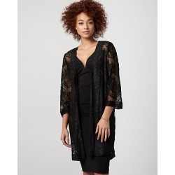 Le Chateau Womens - Lace Open-Front Cover Up Top in Black Size Medium Nylon/Viscose