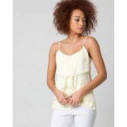 Le Chateau Womens - Chiffon Ruffle Camisole Top in Soft Yellow Size Large Polyester