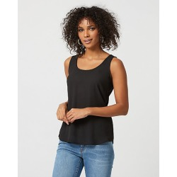 Le Chateau Womens - Crepe de Chine Scoop Neck Top in Black Size XS Polyester/Viscose