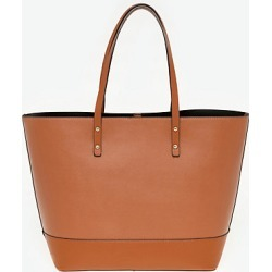 Le Chateau Womens - Saffiano Faux Leather Tote Bag in Tan Plastic/Leather found on Bargain Bro India from Le Chateau Stores for $49.99