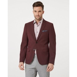 Le Chateau Mens - Tonal Viscose Blend Slim Fit Blazer Jacket in Burgundy/Grey Size 46 Polyester/Viscose found on Bargain Bro Philippines from Le Chateau Stores for $169.99