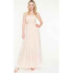 Le Chateau Womens - Beaded Chiffon Sweetheart Gown in Champagne Size 4 Polyester/Glass