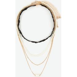Le Chateau - Lace Choker & Pearl-Like Necklace