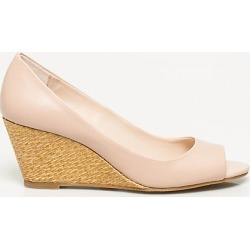 Le Chateau Womens - Faux Leather Peep Toe Wedge Shoes in Blush Size 10 Synthetic/Leather