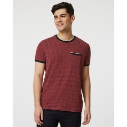 Le Chateau Mens - Dot Print Knit Crew Neck Top in Burgundy/White Size XS Cotton/Polyester/Viscose