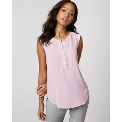 Le Chateau Womens - Crepe de Chine & Knit Crew Neck Top in Lilac Size XS Polyester/Viscose