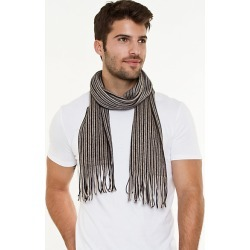 Le Chateau Mens - Stripe Knit Fringe Scarf in Taupe/Grey found on Bargain Bro India from Le Chateau Stores for $19.99