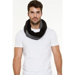 Le Chateau Mens - Wool Blend Colour Block Scarf in Black/Charcoal Wool/Viscose found on Bargain Bro India from Le Chateau Stores for $19.99