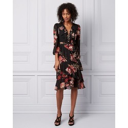 Le Chateau Womens - Floral Print Chiffon Wrap-Like Dress in Black/Raspberry Size XS Polyester found on Bargain Bro Philippines from Le Chateau Stores for $169.99