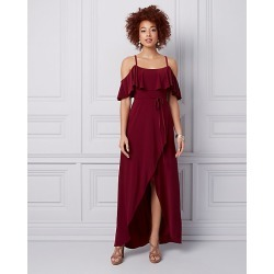 Le Chateau Womens - Knit Cold Shoulder Wrap-like Gown in Burgundy Size Large Polyester found on Bargain Bro Philippines from Le Chateau Stores for $139.99