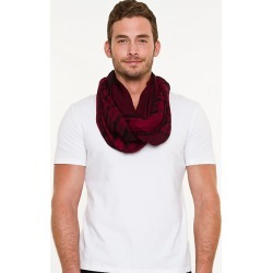 Le Chateau Mens - Check Print Infinity Scarf in Red/Black Viscose found on Bargain Bro India from Le Chateau Stores for $19.99